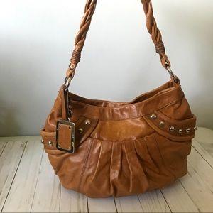 B Makowsky Tan Leather Hobo Bag